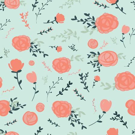 graceful: graceful seamless floral pattern over blue background