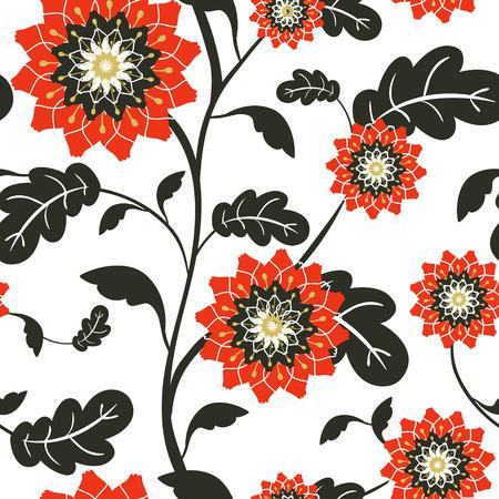 semillas de girasol: modernas flores rojo sol de fondo sin fisuras en blanco