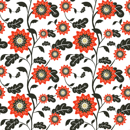 sun flowers: modern red sun flowers seamless background over white Illustration