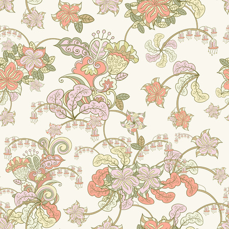 ornamental colored seamless floral pattern over beige Vector