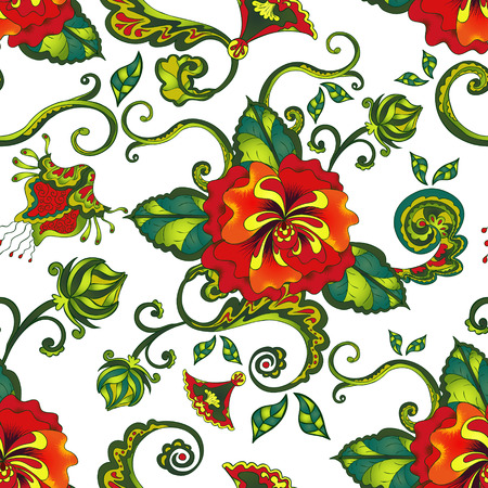 tropical background: tropical red floral pattern seamless background over white Illustration