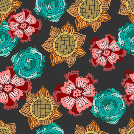 colorful doodle flowers seamless pattern over black Vector