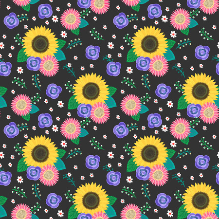 seamless cartoon flowers pattern background over black Vector