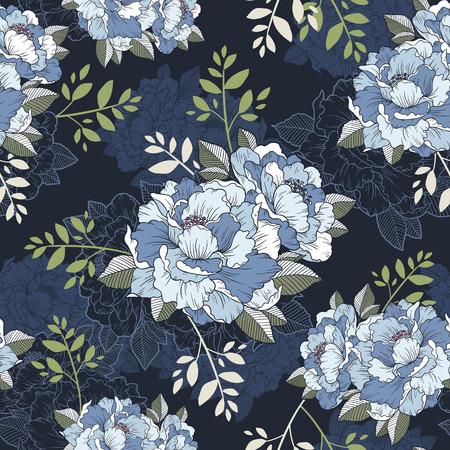 Elegante peonía patrón floral sin fisuras de fondo sobre azul Foto de archivo - 36098127