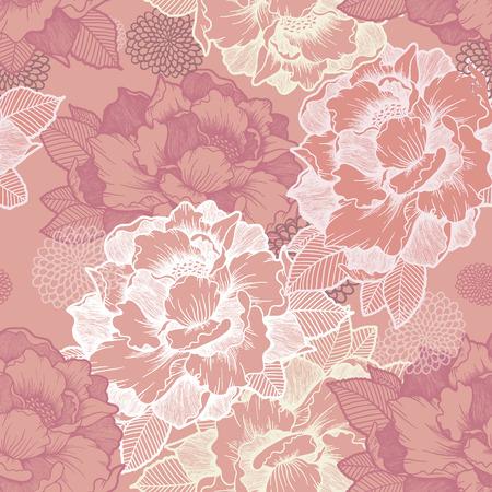 elegante pioen naadloze bloemmotief achtergrond over roze Stock Illustratie