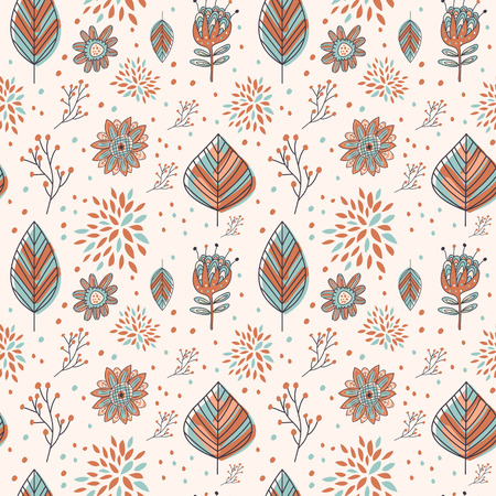 adorable cartoon seamless pattern with flowers and leaves