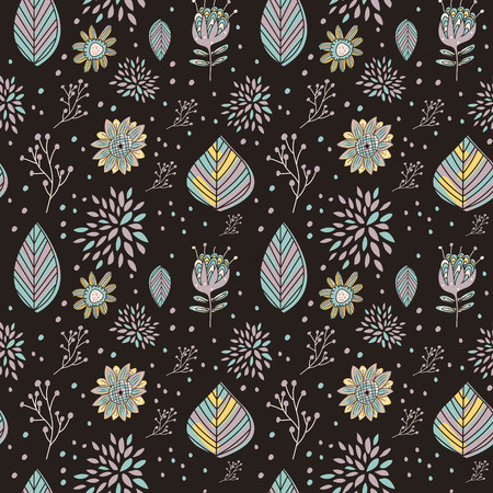 amiable: adorable cartoon seamless pattern with flowers and leaves