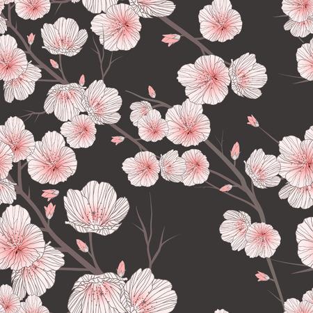 검은 배경 위에 벚꽃 원활한 패턴