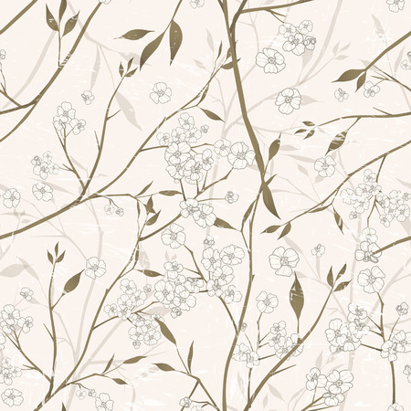 simple purity flowers: elegant floral seamless pattern over beige background Illustration