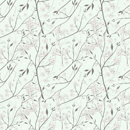 simple purity flowers: elegant floral seamless pattern over green background