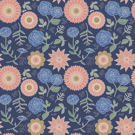 elegant floral seamless pattern with various flowers over blue Vector