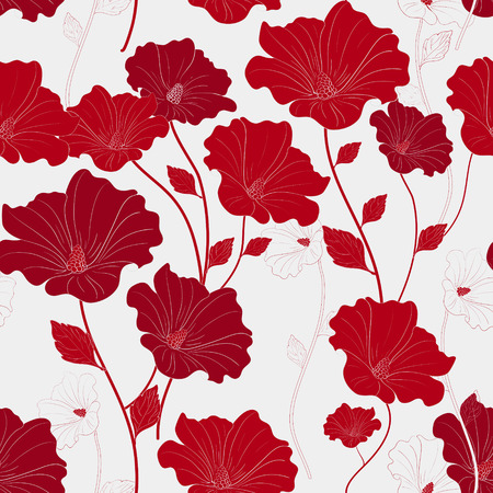 graceful: graceful red seamless floral pattern over white background