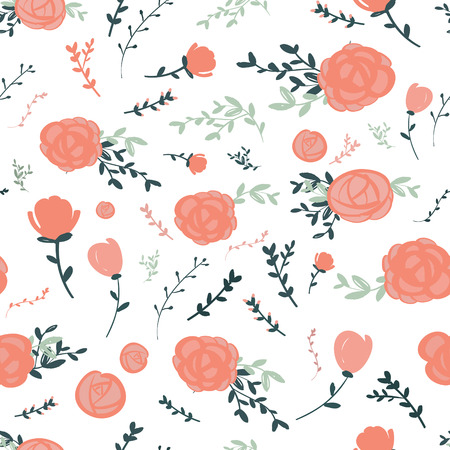 graceful: graceful seamless floral pattern over white background