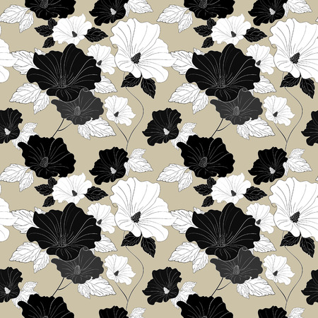 graceful: graceful seamless floral pattern over beige background