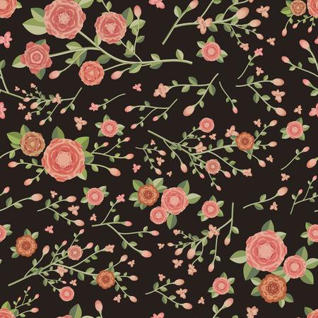 graceful: graceful seamless floral pattern over black background Illustration