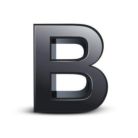 letter b: 3d black letter B isolated on white background Illustration