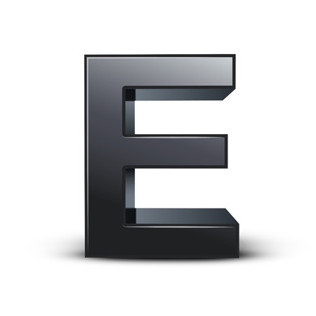 e learn: 3d black letter E isolated on white background Illustration