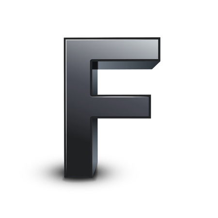 letter f: 3d black letter F isolated on white background