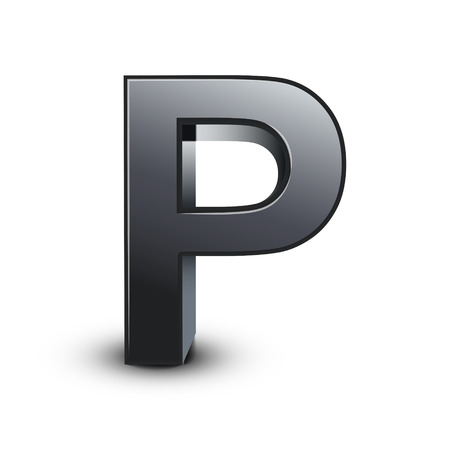 3d black letter P isolated on white background