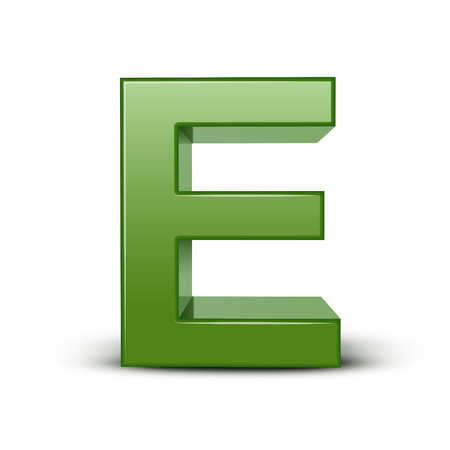 e learn: 3d green letter E isolated on white background
