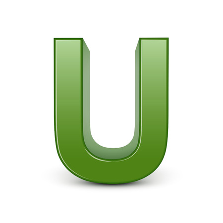 3d green letter U isolated on white background Vector
