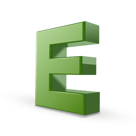 e alphabet: 3d green letter E isolated on white background