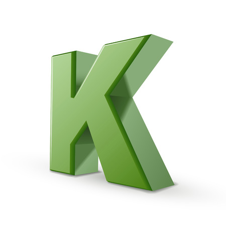 3d green letter K isolated on white background Illustration