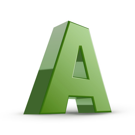 alphabet letter a: 3d green letter A isolated on white background