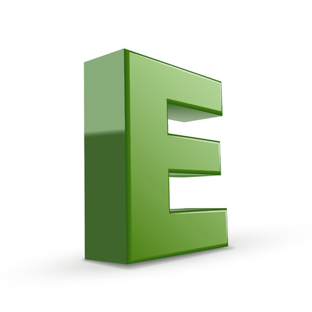 the letter e: 3d green letter E isolated on white background