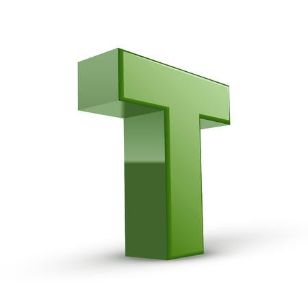 t background: 3d green letter T isolated on white background Illustration