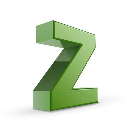 buchstabe z: 3d green Buchstabe Z isoliert auf wei�em Hintergrund