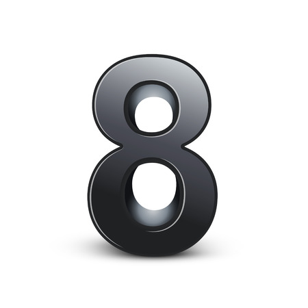 number 8: 3d shiny black number 8 isolated on white background Illustration