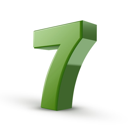 number 7: 3d shiny green number 7 isolated on white background Illustration