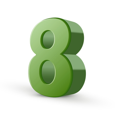number 8: 3d shiny green number 8 isolated on white background Illustration