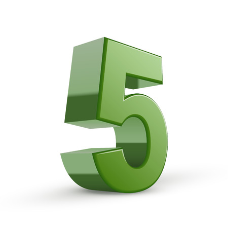 number 5: 3d shiny green number 5 isolated on white background