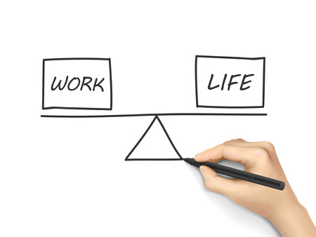life balance: life and work balance drawn by human hand over white background Illustration