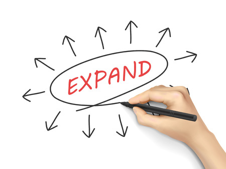 expansion: expand word written by 3d hand over white background