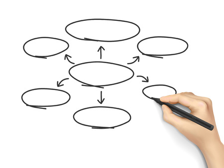 dispersed: empty diagram drawn by 3d hand over white background