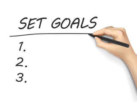 set the intention: set goals words written by hand on white background Illustration