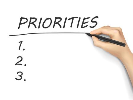 prioridades: prioridades palabra escrita a mano en un tablero blanco Vectores