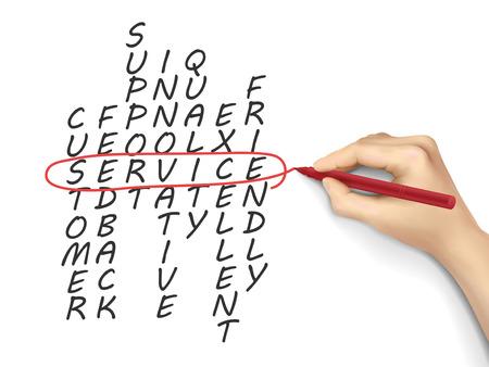 white board: service crossword written by hand on a white board
