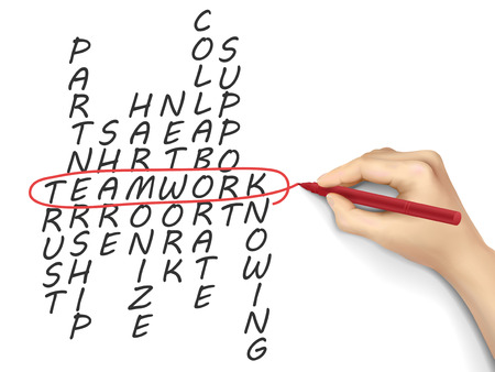 teamwork concept crossword written by hand over white background