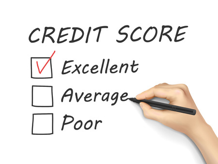 credit score survey written by hand on white background