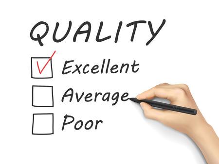 uitstekend: kiezen uitstekend op klantenservice evaluatieformulier over witte achtergrond Stock Illustratie