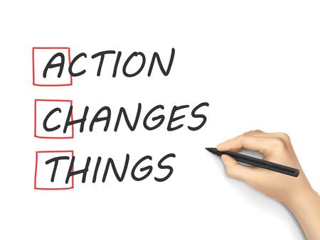 Actie verandert Dingen met de hand geschreven op een witte achtergrond Stock Illustratie