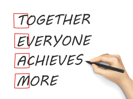 leadership development: Together Everyone Achieves More written by hand on white background Illustration