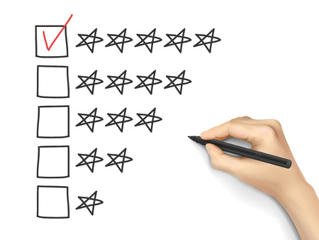 quality check: hand putting check mark with pen on five star rating Illustration