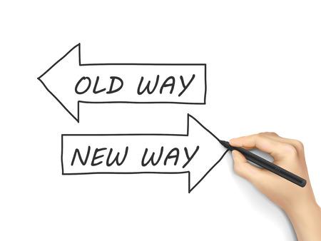 Stary sposób lub nowy sposób napisane ręcznie samodzielnie na białym tle Ilustracje wektorowe