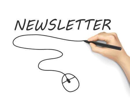 newsletter word written by hand on white background Illustration