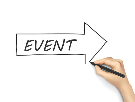 happening: event word written by hand on white background